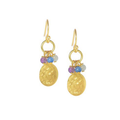 Gold Plated Sterling Silver Zabrina Oval Charm Beaded Drop Earrings