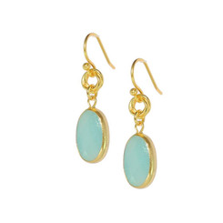 Gold Plated Sterling Silver Mira Oval Stone Intertwine Circle Drop Earrings, Amazonite