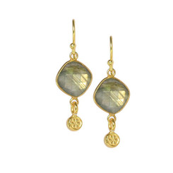 Gold Plated Sterling Silver Zali Stone and Small Charm Drop Earrings, Labradorite