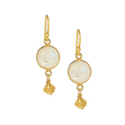 Gold Plated Sterling Silver Stone Round Drop Earrings, Moonstone