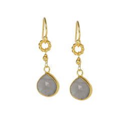 Gold Plated Sterling Silver Agnes Twist Circle Tear Drop Earrings, Moonstone