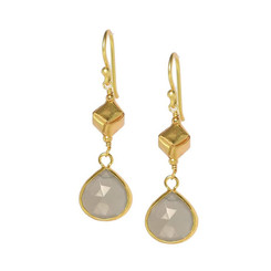 Gold Plated Sterling Silver Yannis Box Teardrop Drop Earrings, Moonstone