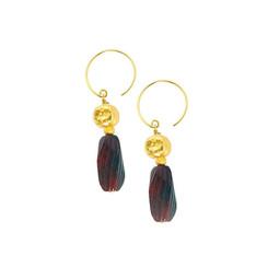 Gold Plated Sterling Silver Joanna Carved Stone Drop Circle Hook Earrings, Fancy Jasper
