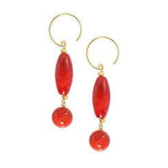 Gold Plated Sterling Silver Jonae Beaded Drop Circle Hook Earrings, Coral
