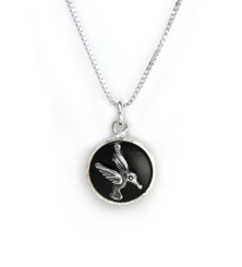 Sterling Silver Hummingbird  Charm Necklace, Black