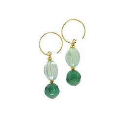 Gold Plated Sterling Silver Joslin Beaded Drop Circle Hook Earrings