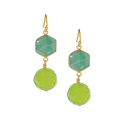 Gold Plated Sterling Silver Yuna Hexagon Beaded Drop Earrings, Green