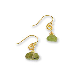 Gold Plated Sterling Silver Tamra Circle Bead Drop Earrings, Peridot