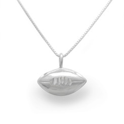 Sterling Silver Football Charm on Chain Necklace