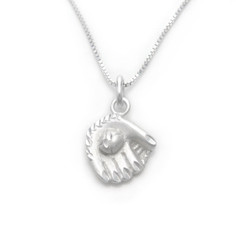 Sterling Silver Baseball Softball Glove and Ball Charm Necklace