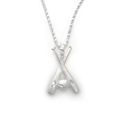 Sterling Silver Two Bats and Ball Baseball Softball Charm Necklace