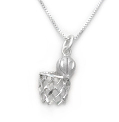 Sterling Silver Basketball and Hoop Net Etched Charm Necklace