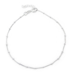Sterling Silver Bead Curb Chain Anklet, 9 - 10 Inch