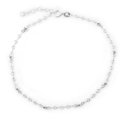 Sterling Silver Bead Double Circle Link Chain Anklet, 9 - 10 Inch