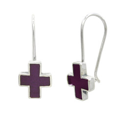 Sterling Silver Enamel Cross French Hook Earrings, Purple