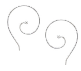 Sterling Silver Ear Spiral Pull Through Earrings
