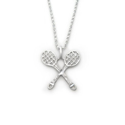 Sterling Silver Double Tennis Rackets Etched Charm Necklace