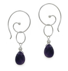 Sterling Silver Gemstone Circle Drop Ear Spiral Pull Through Earrings, Amethyst