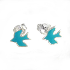 Sterling Silver Enameled Robin Egg Blue Swallow Bird Stud Post Earrings