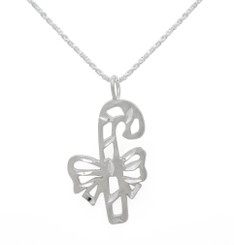 Sterling Silver Candy Cane Bow Charm Pendant Necklace