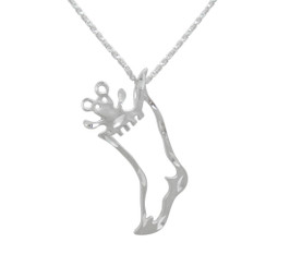 Sterling Silver Bear in Stocking Charm Pendant Necklace