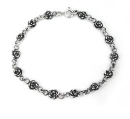 Sterling Silver  Rose Link Bracelet, 7 Inch