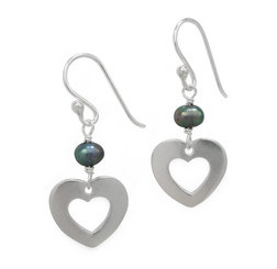Sterling Silver Cultured Pearl Heart Charm Link Drop Earrings