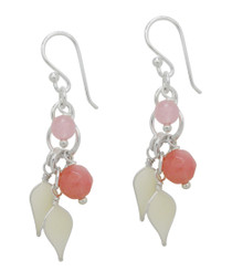 Sterling Silver Enamel Leaves and Stones Cascading Drop Earrings, Pink