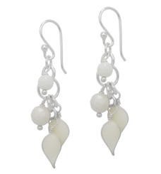 Sterling Silver Enamel Leaves and Stones Cascading Drop Earrings, White