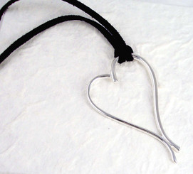 Sterling Silver Swirl Heart Ultra Suede Cord Necklace
