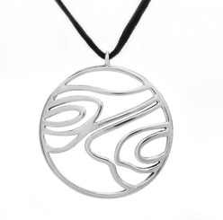 Sterling Silver Woodgrain Medallion on Ultra Fiber Suede Cord, 16""