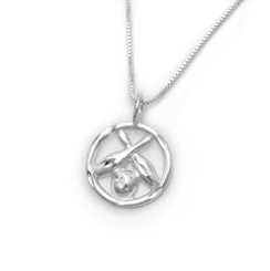 Sterling Silver Bowling Ball Crossing Pins Circle Necklace
