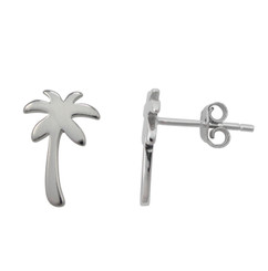 Sterling Silver Palm Tree Stud Post Earrings