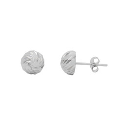 Sterling Silver Diamond Cut Round Dome Stud Post Earrings, 8mm