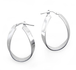 Sterling Silver Fancy Shaped Loop Hinged Hoop Earrings