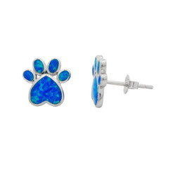 Sterling Silver Paw Print Stud Post Earrings, Created Blue Opal