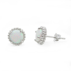 Sterling Silver Created Opal Round Stud Post Earrings, 8mm