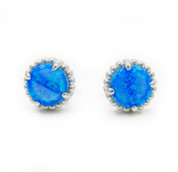 Sterling Silver Created Blue Opal Round Stud Post Earrings, 8mm