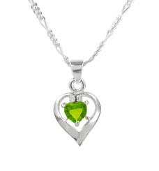 Sterling Silver Birth-Month Crystal Heart Necklace, August Green