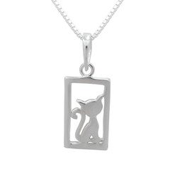 Sterling Silver Cat in Window Frame Pendant Necklace