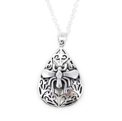 Sterling Silver Medieval Wasp Teardrop Necklace, 18-Inch