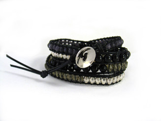 Leather and Mixed Stones 4-Wrap Adjustable Bracelet, 29 - 31""
