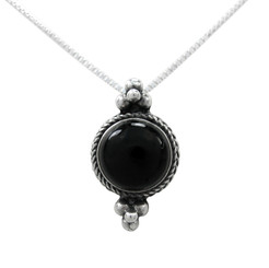 Sterling Silver Round Stone Bali Style Slider Pendant Necklace, Onyx