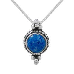 Sterling Silver Round Stone Bali Style Slider Pendant Necklace, Denim Lapis