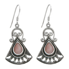 Sterling Silver Boheme Scroll Fan Drop Earrings, Pink Shell