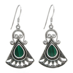 Sterling Silver Boheme Scroll Fan Drop Earrings, Malachite