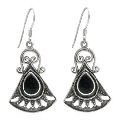 Sterling Silver Boheme Scroll Fan Drop Earrings, Onyx