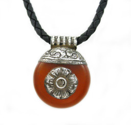 Sterling Silver Carnelian Flower Slider Woven Leather Necklace