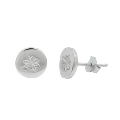 Sterling Silver Star Round Stud Post Earrings