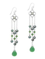 Sterling Silver Flower Charm Beaded Chain Tassel Drop Earrings, Green